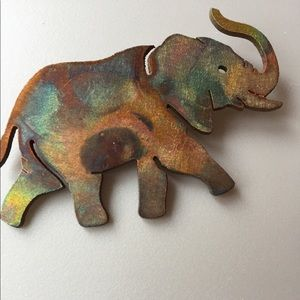 Jewelry - Artisan Made Metal Elephant Pin (Trunk Up!)